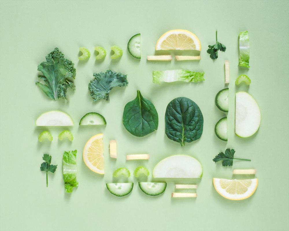 zielone zdrowe warzywa i owoce